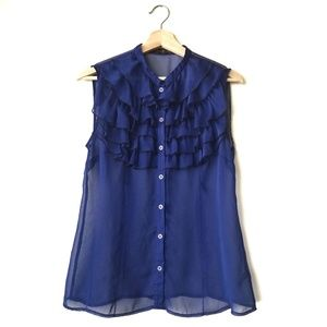 The Limited Sheer Ruffle Front Button Up SL Blouse
